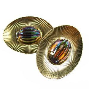 Vintage clip on earrings Aurora Borealis cabochons
